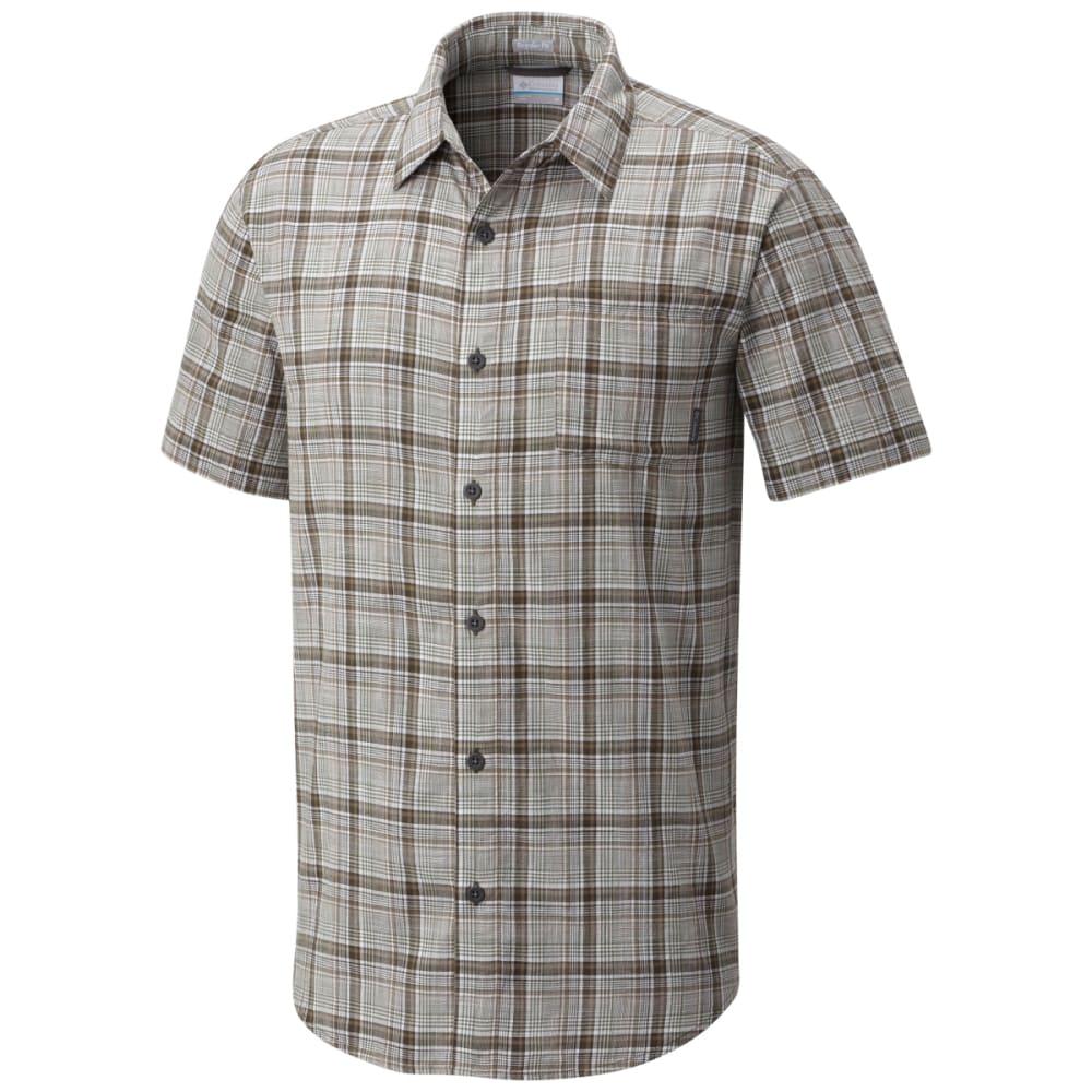 COLUMBIA Men's Under Exposure Yarn-Dye Short Sleeve Shirt - MOSSTONE PLD-302
