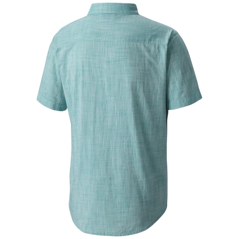 COLUMBIA Men's Under Exposure Yarn-Dye Short Sleeve Shirt - TEAL-963