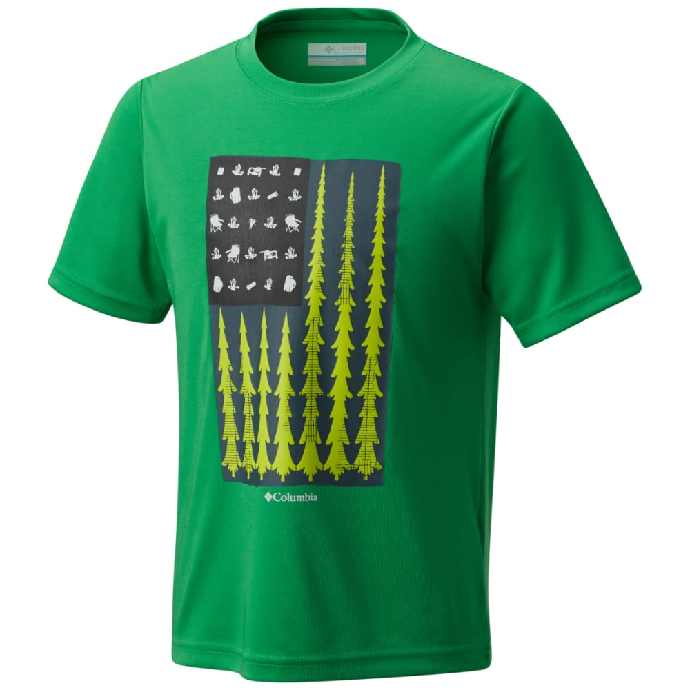 COLUMBIA Boys' Badge N' Flag Short Sleeve Shirt - FUSE GRN-345