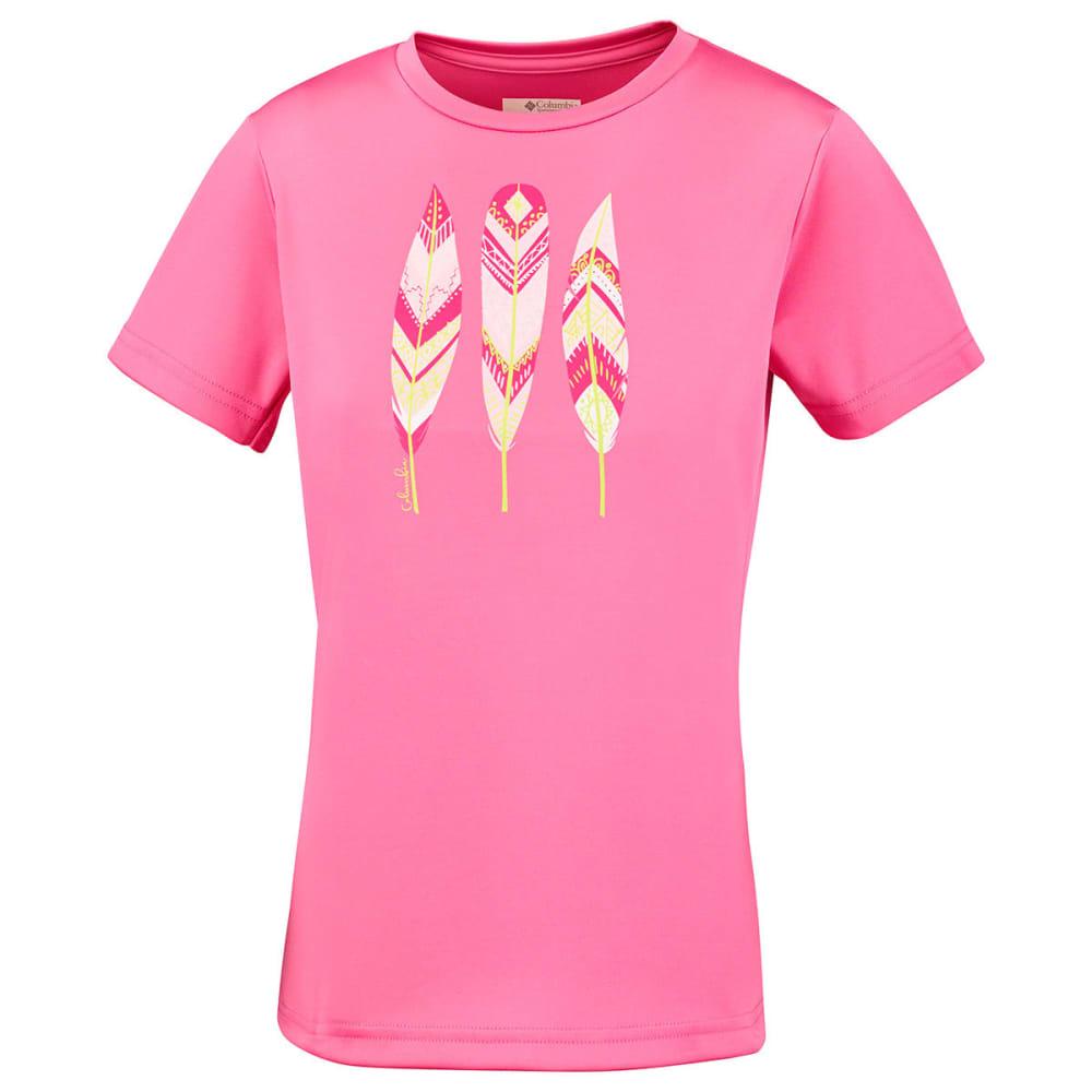 COLUMBIA Girl's Trailtastic Short-Sleeve Shirt - 674-LOLLIPOP FEATHER