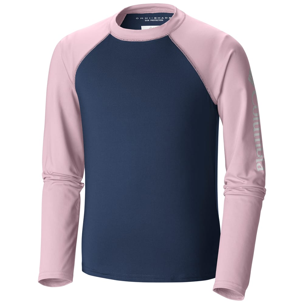 COLUMBIA Big Girls' Mini Breaker Long-Sleeve Sunguard - 469-CARBON/PINK
