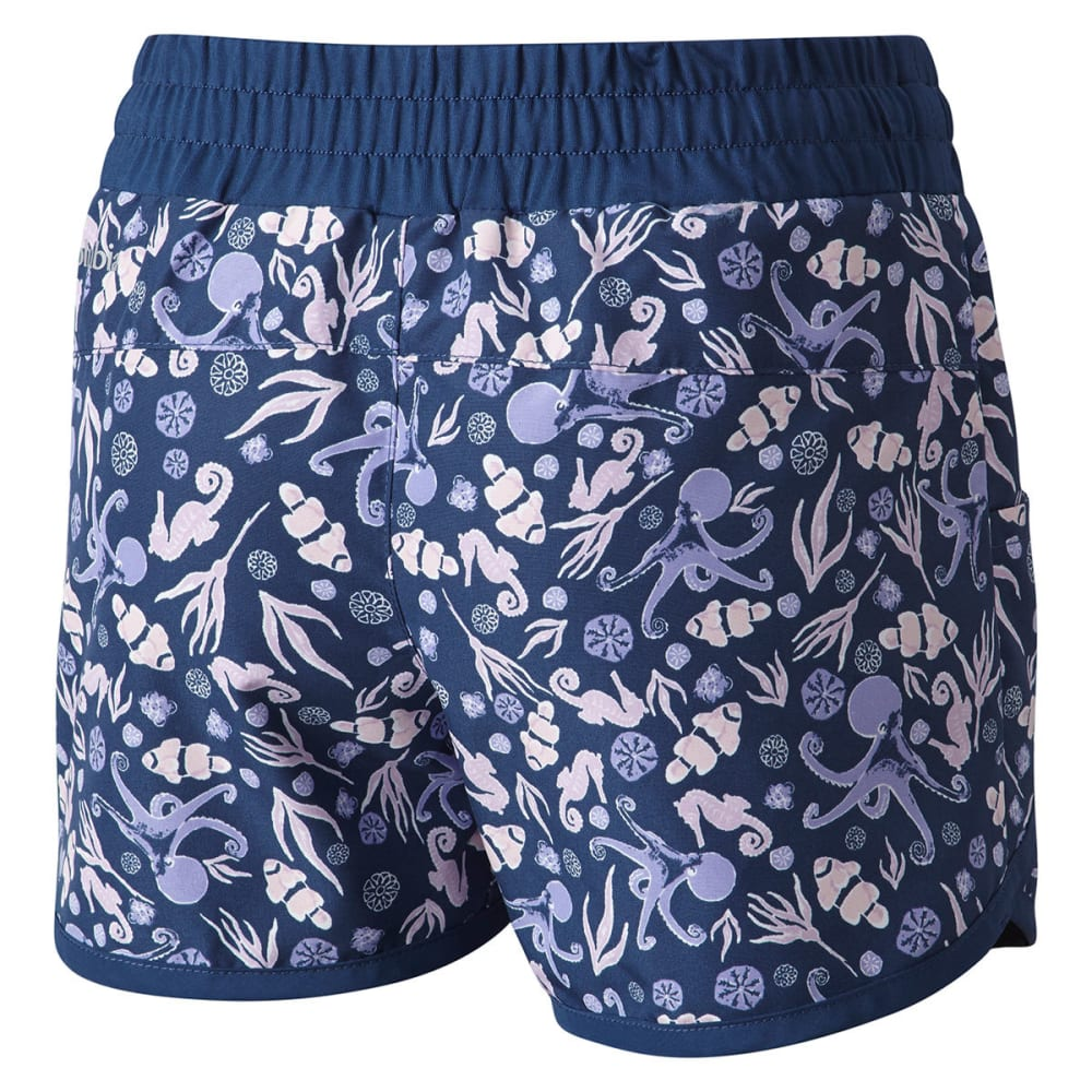 COLUMBIA Big Girls' Solar Stream II Boardshorts - 469-CARBON OCEAN