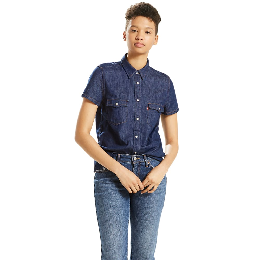 LEVI'S Women's Larissa Short-Sleeve Western Shirt - 0003-SUPER DARK AUTH