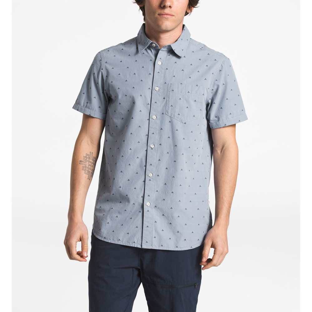 THE NORTH FACE Men's Bay Trail Jacquard Short-Sleeve Shirt - 5GR GULL BLUE TENT