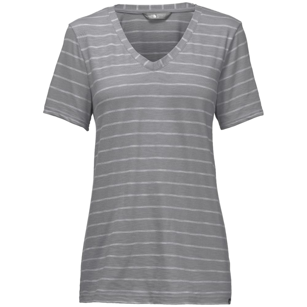 THE NORTH FACE Women's Short-Sleeve Sand Scape V-Neck Tee - BJF-MID GREY STRIPE