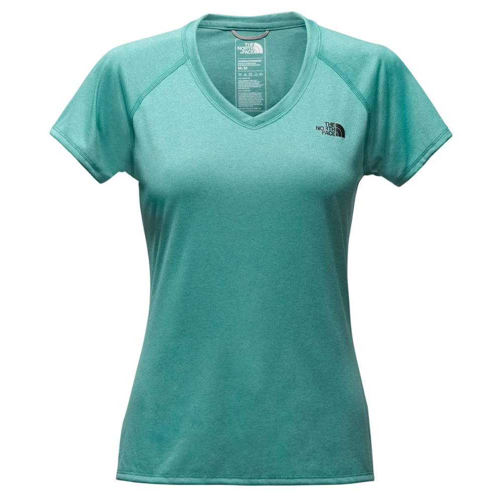 THE NORTH FACE Women's Reaxion Amp V-Neck Short-Sleeve Tee - 2QX-BRISTOL BLE HTR