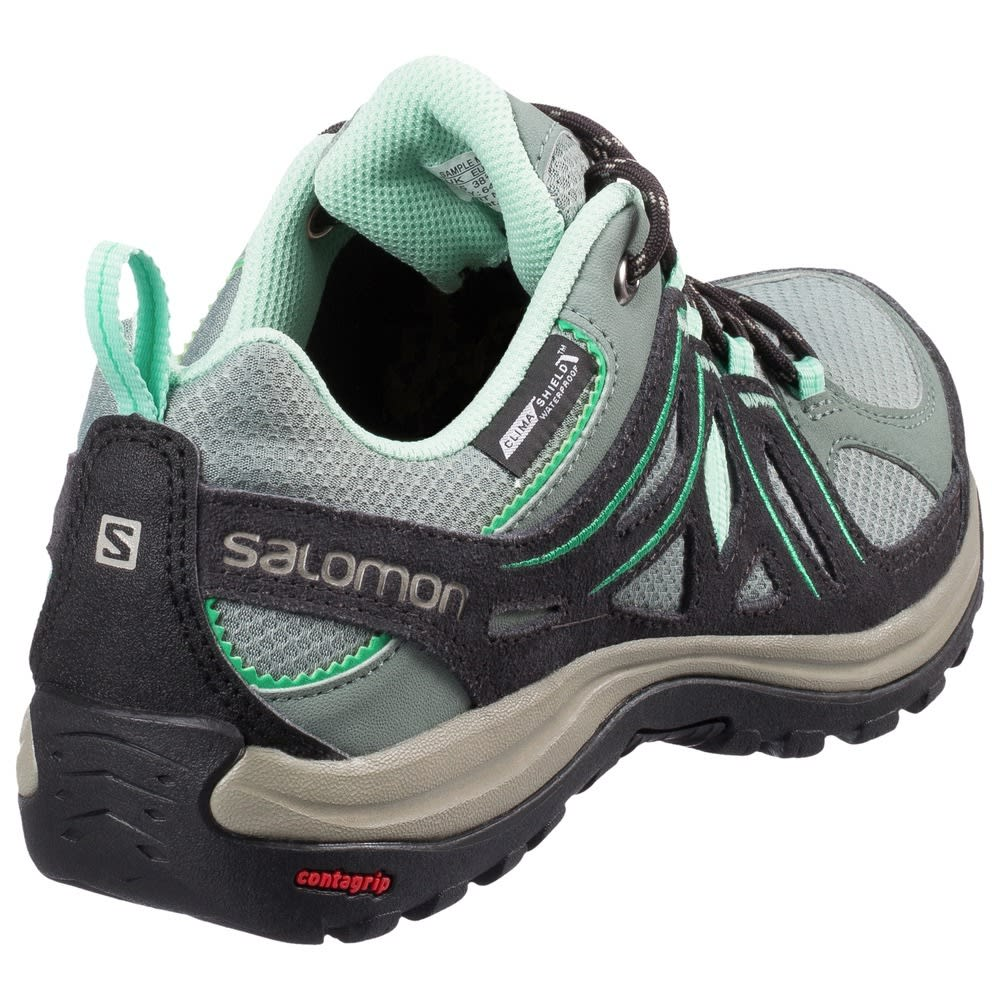 SALOMON Women's Ellipse 2 CS Waterproof Hiking Shoes, Titanium/Asphalt/Green - TITANIUM/GRN