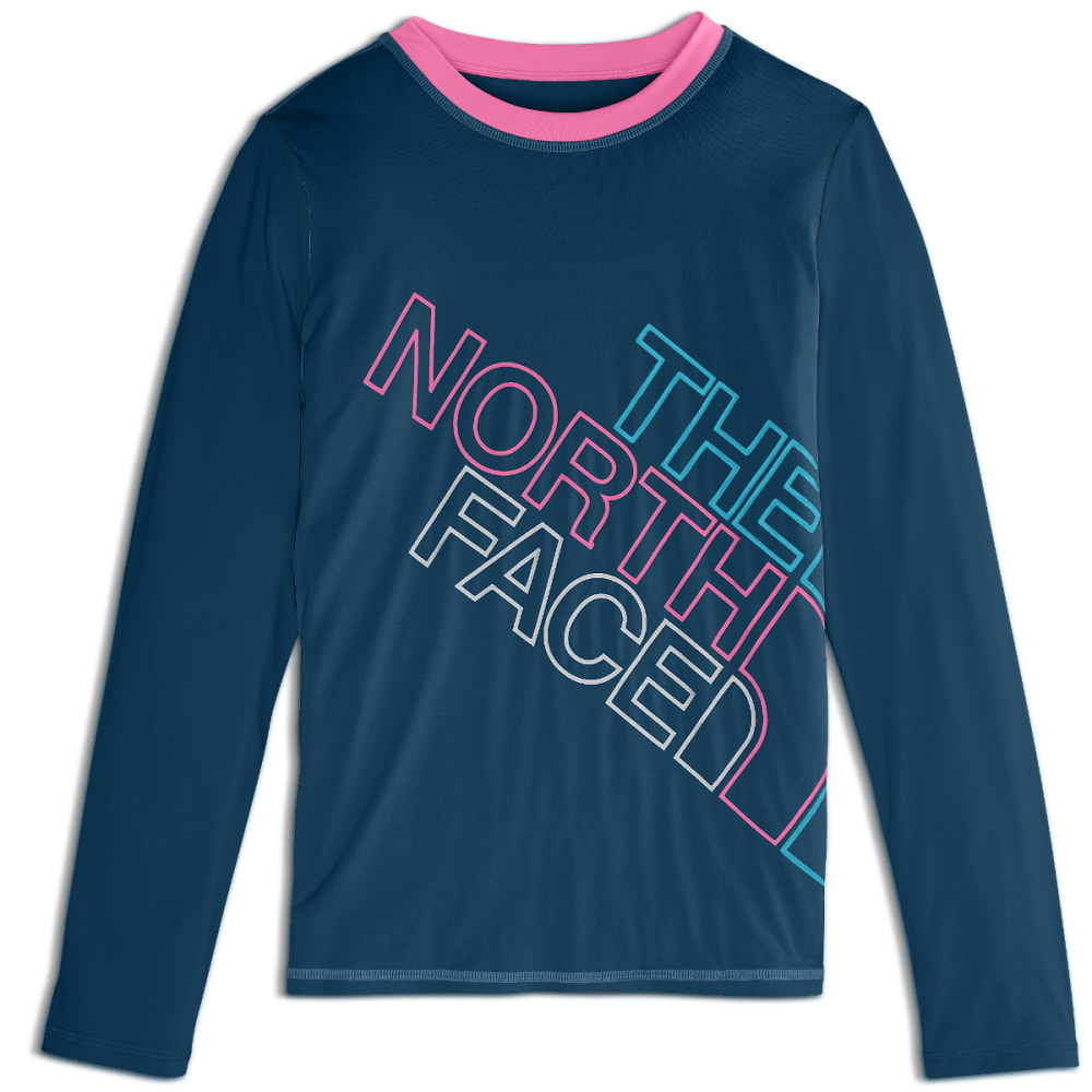 THE NORTH FACE Girls' Amphibious Long-Sleeve Tee Shirt - N4L-BLUE WING TEAL