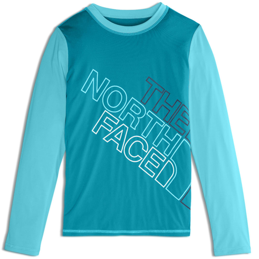 THE NORTH FACE Girls' Amphibious Long-Sleeve Tee Shirt - UAX-ANGELERS BLUE