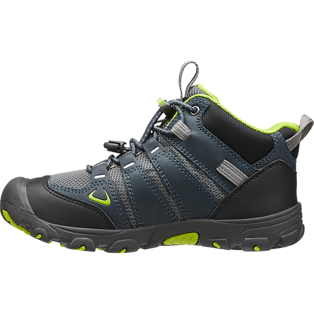 KEEN Big Kids' Oakridge Waterproof Mid Hiking Boots - NAVY/LIME