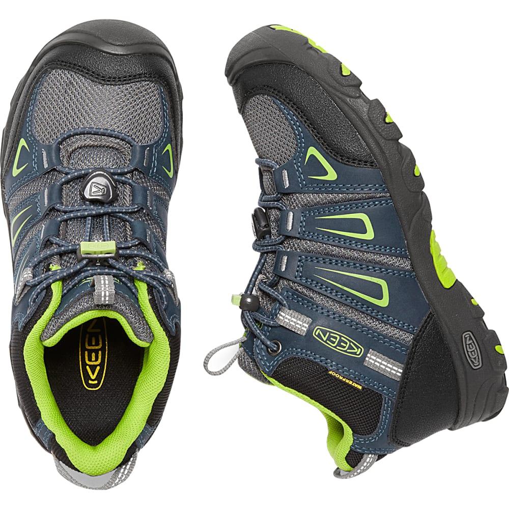 KEEN Big Kids' Oakridge Waterproof Mid Hiking Boots - NAVY/LIME