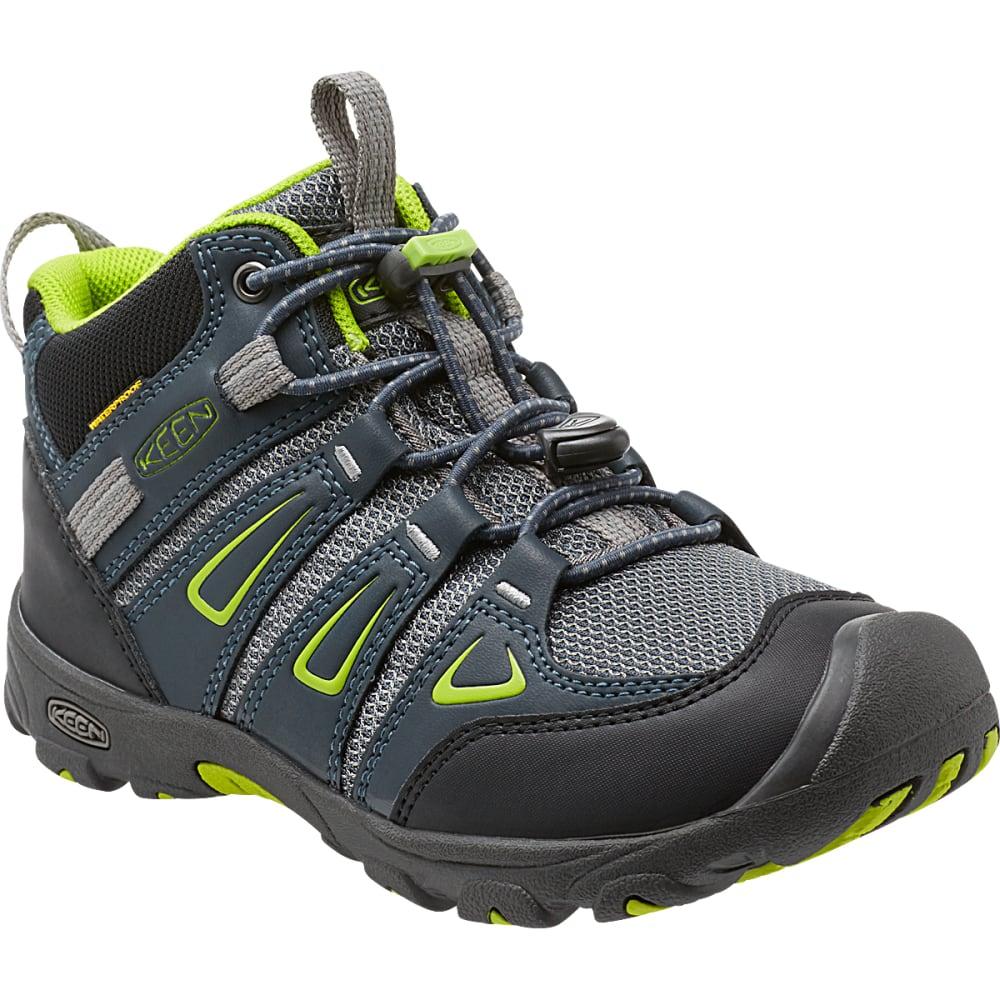 4f9692bc5ef KEEN Big Kids  39  Oakridge Waterproof Mid Hiking Boots - NAVY LIME