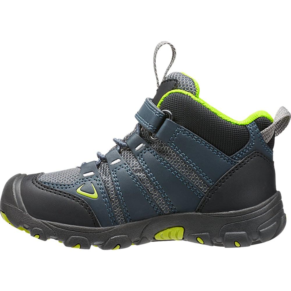 KEEN Little Kids' Oakridge Waterproof Mid Hiking Boots - NAVY/LIME