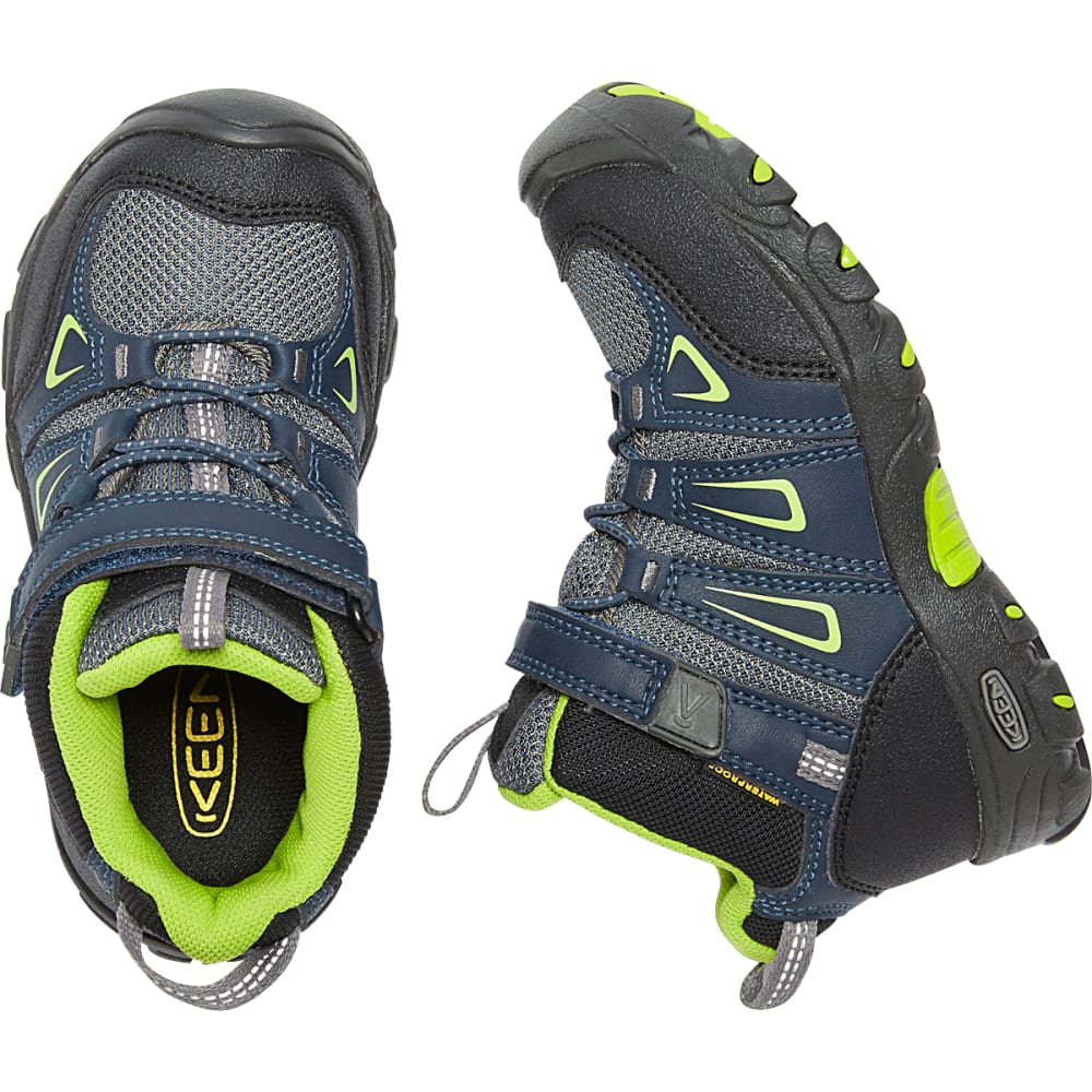 KEEN Little Kids' Oakridge Waterproof Mid Hiking Boots - NAVY/LIME
