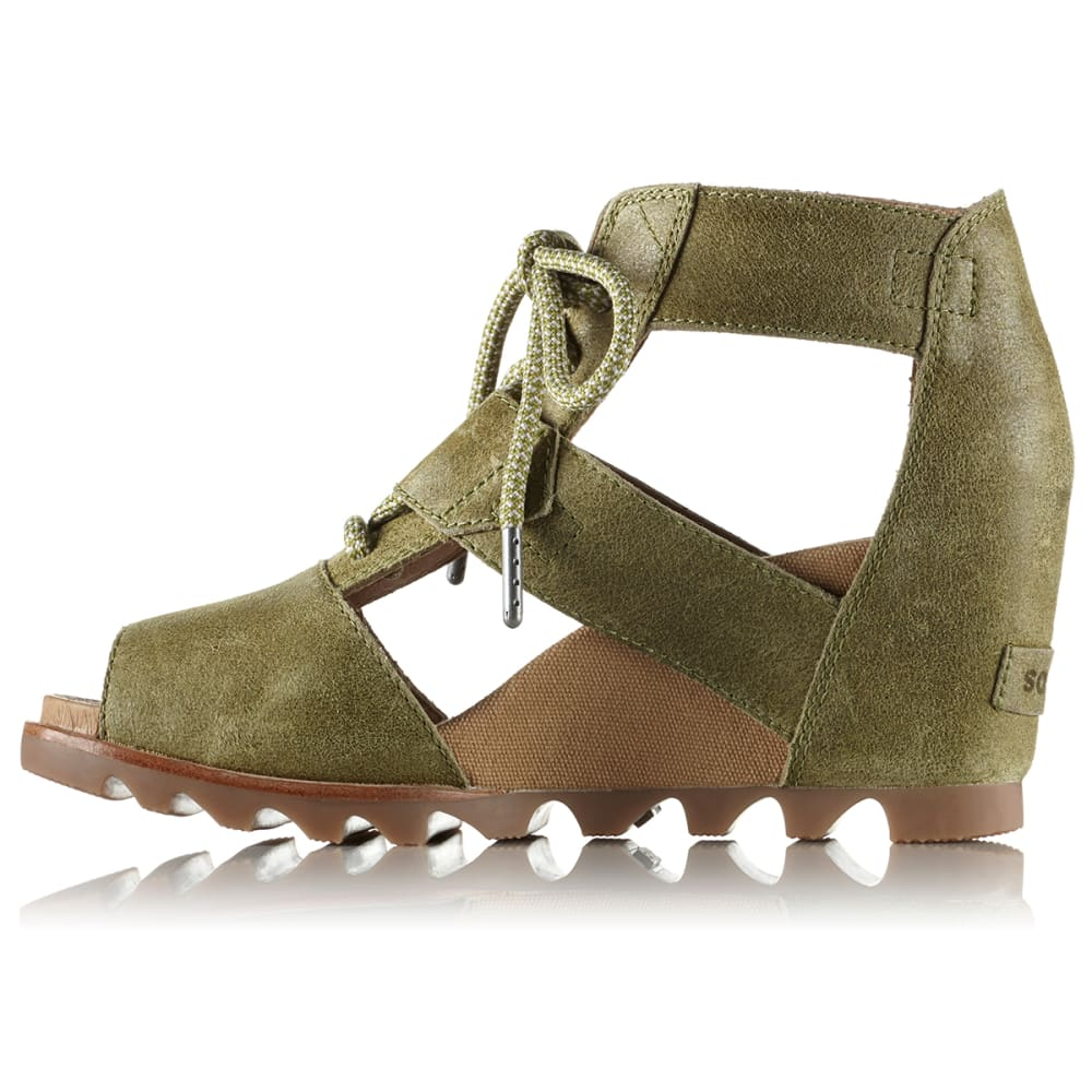SOREL Women's Joanie Lace Wedge Sandals - OLIVE DRAB