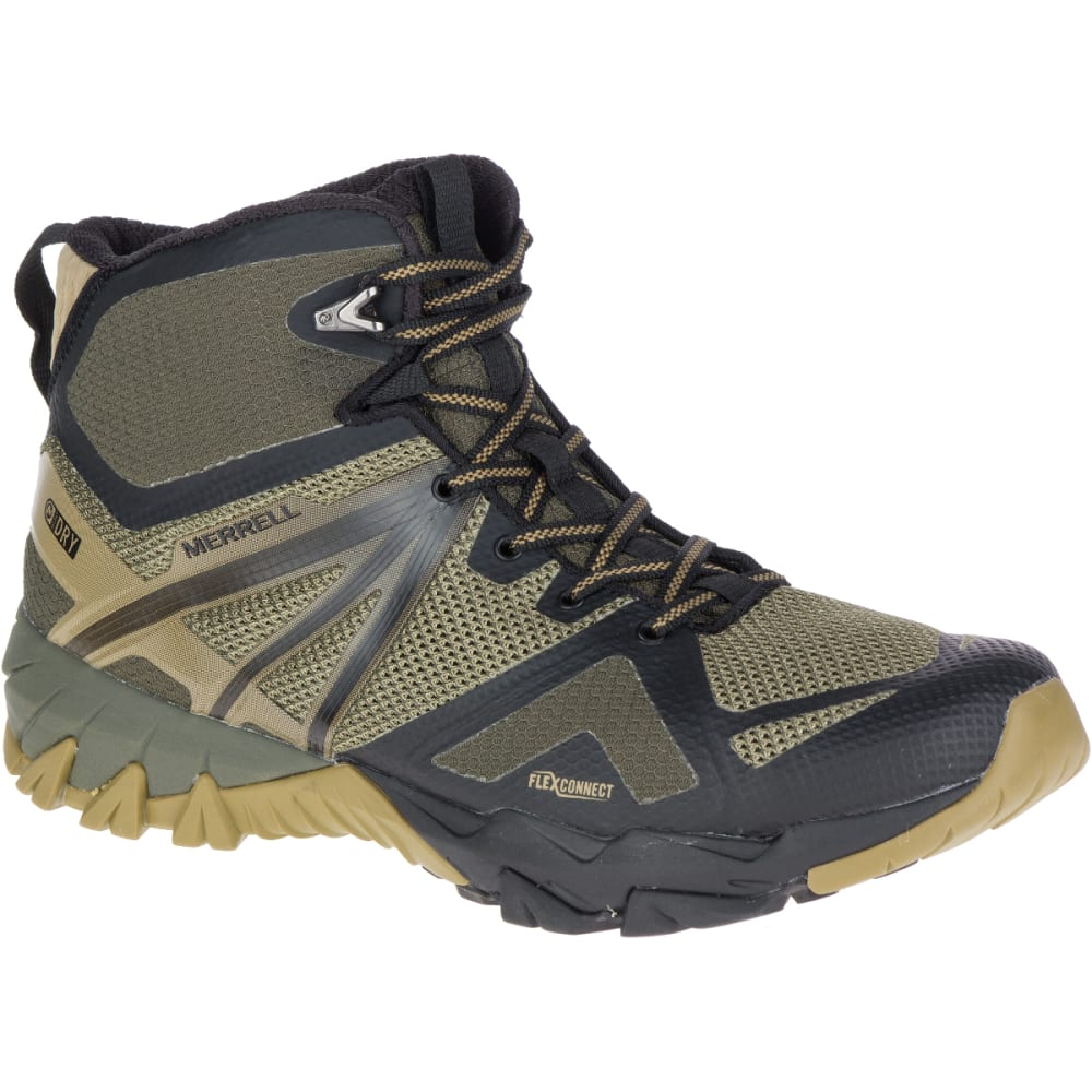 MERRELL Men's MQM Flex Mid Waterproof Hiking Boots - DUSTY OLIVE