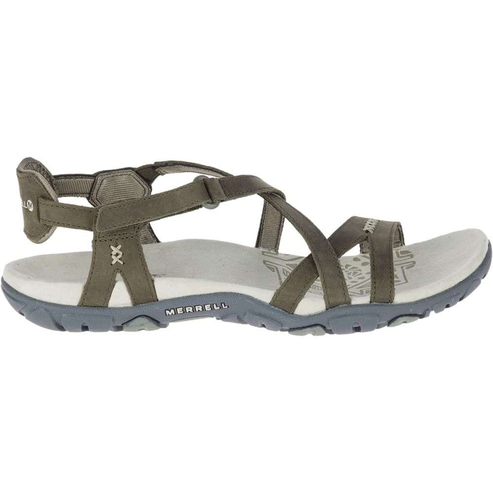 MERRELL Women's Sandspur Rose Leather Sandals - DUSTY OLIVE