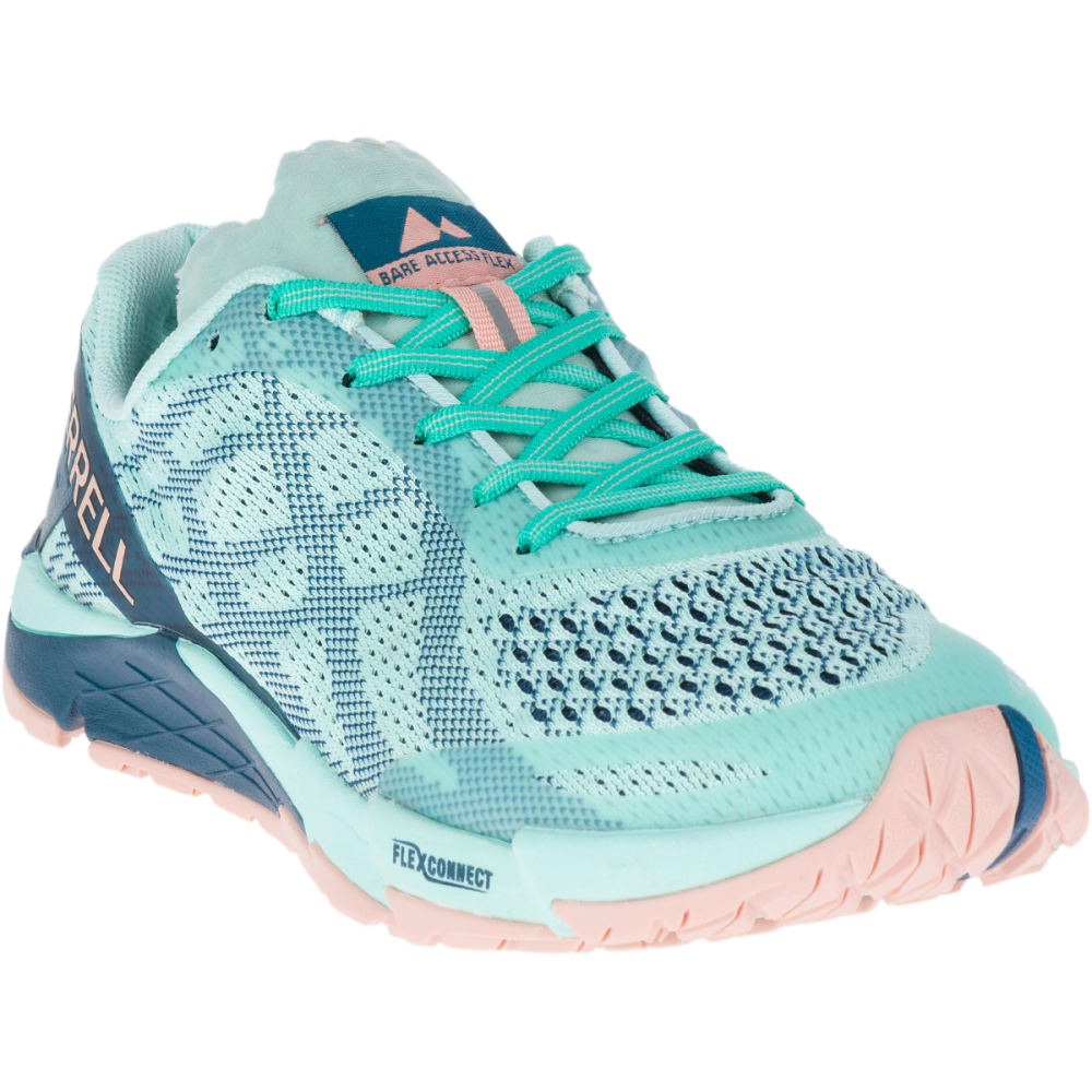 MERRELL Women's Bare Access Flex E-Mesh Trail Running Shoes - TURQUOISE