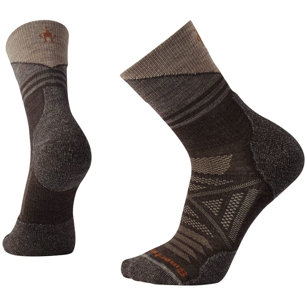 SMARTWOOL Men's PhD Outdoor Light Pattern Mid Crew Socks - 207-CHESTNUT