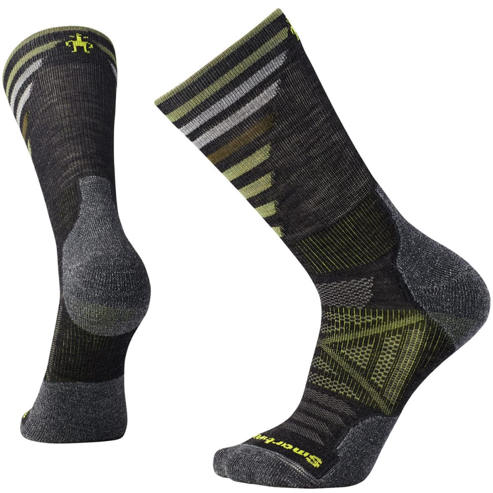 SMARTWOOL Men's PhD Outdoor Light Pattern Crew Socks - 003-CHARCOAL