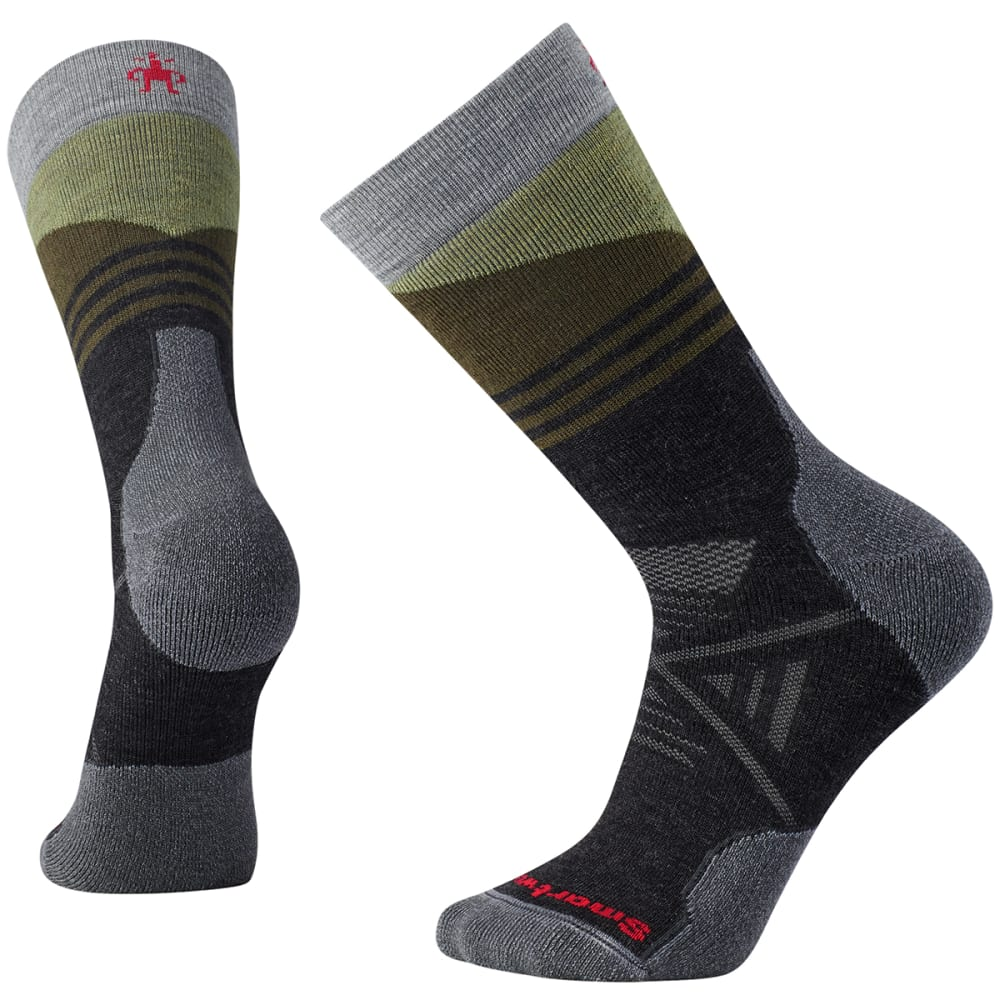 SMARTWOOL Men's PhD Outdoor Medium Pattern Crew Socks - 003-CHARCOAL