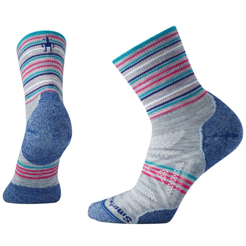 SMARTWOOL Women's PhD Outdoor Light Pattern Mid Crew Socks - 597-BLUE ICE