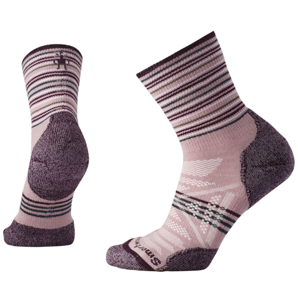 SMARTWOOL Women's PhD Outdoor Light Pattern Mid Crew Socks - 580-WOODROSE