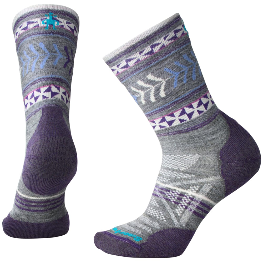 SMARTWOOL Women's PhD Outdoor Light Pattern Crew Socks - 052-MED GREY