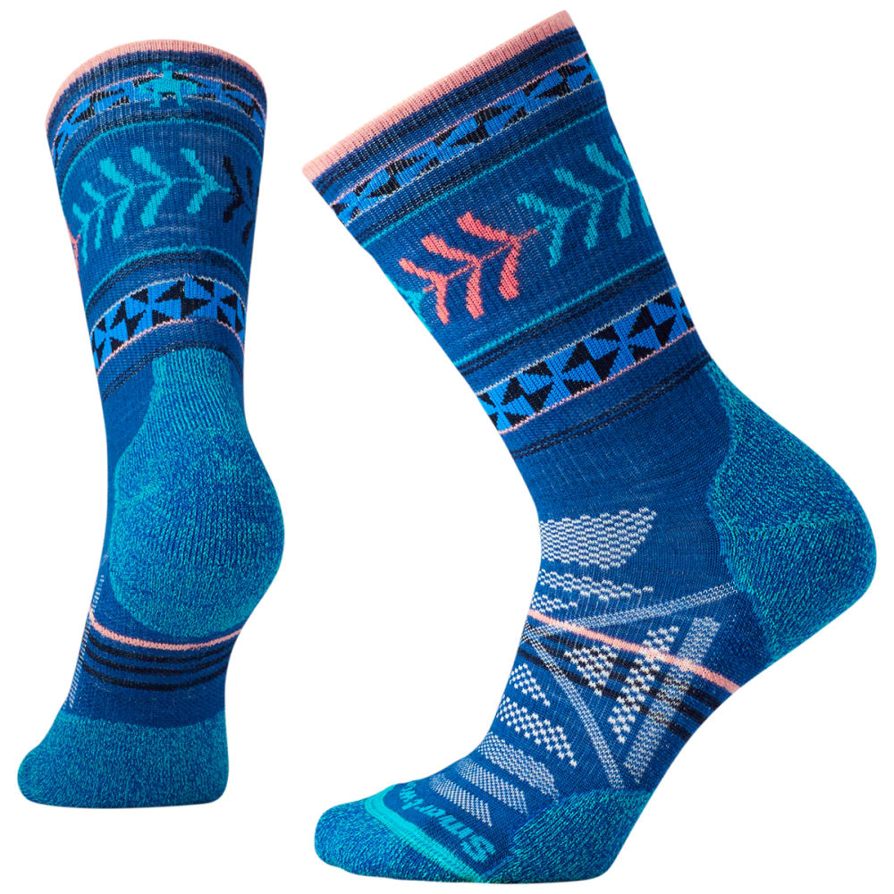 SMARTWOOL Women's PhD Outdoor Light Pattern Crew Socks - 491-DARK BLUE