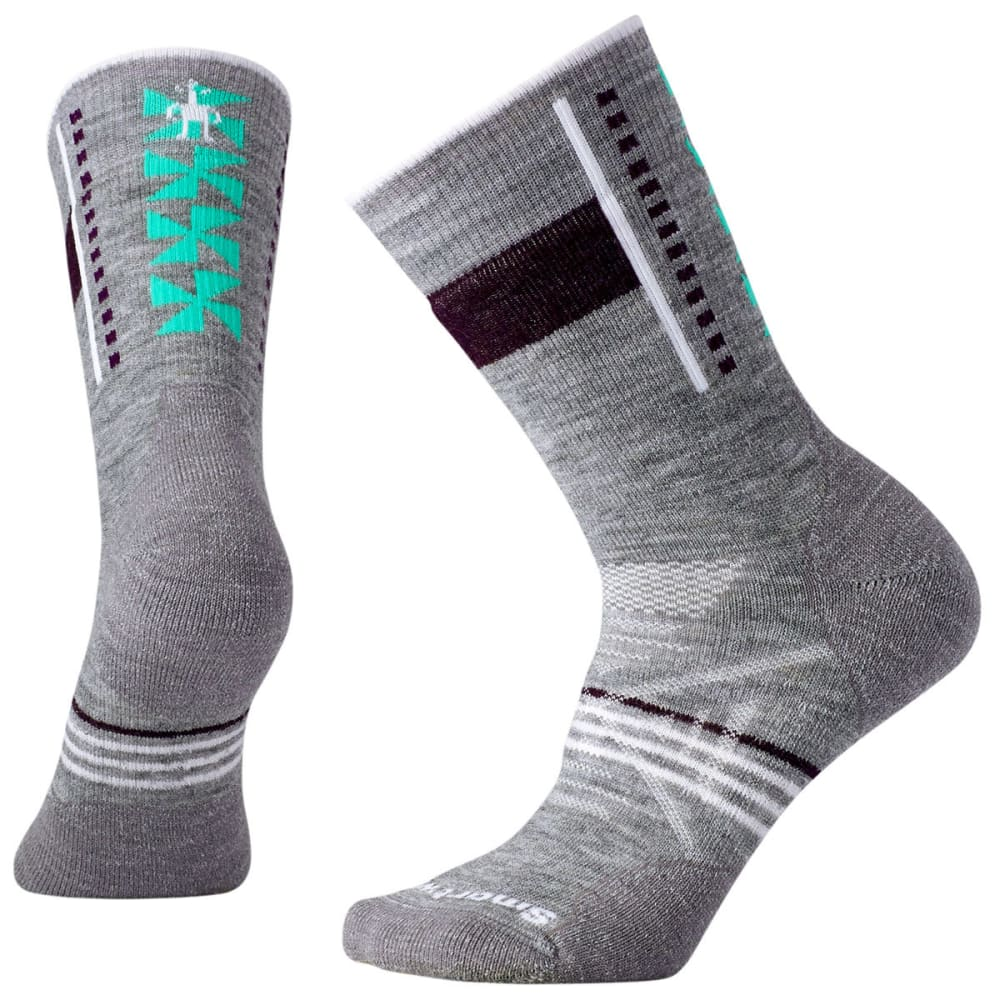 SMARTWOOL Women's PhD Outdoor Medium Pattern Crew Socks - 039-LIGHT GRAY