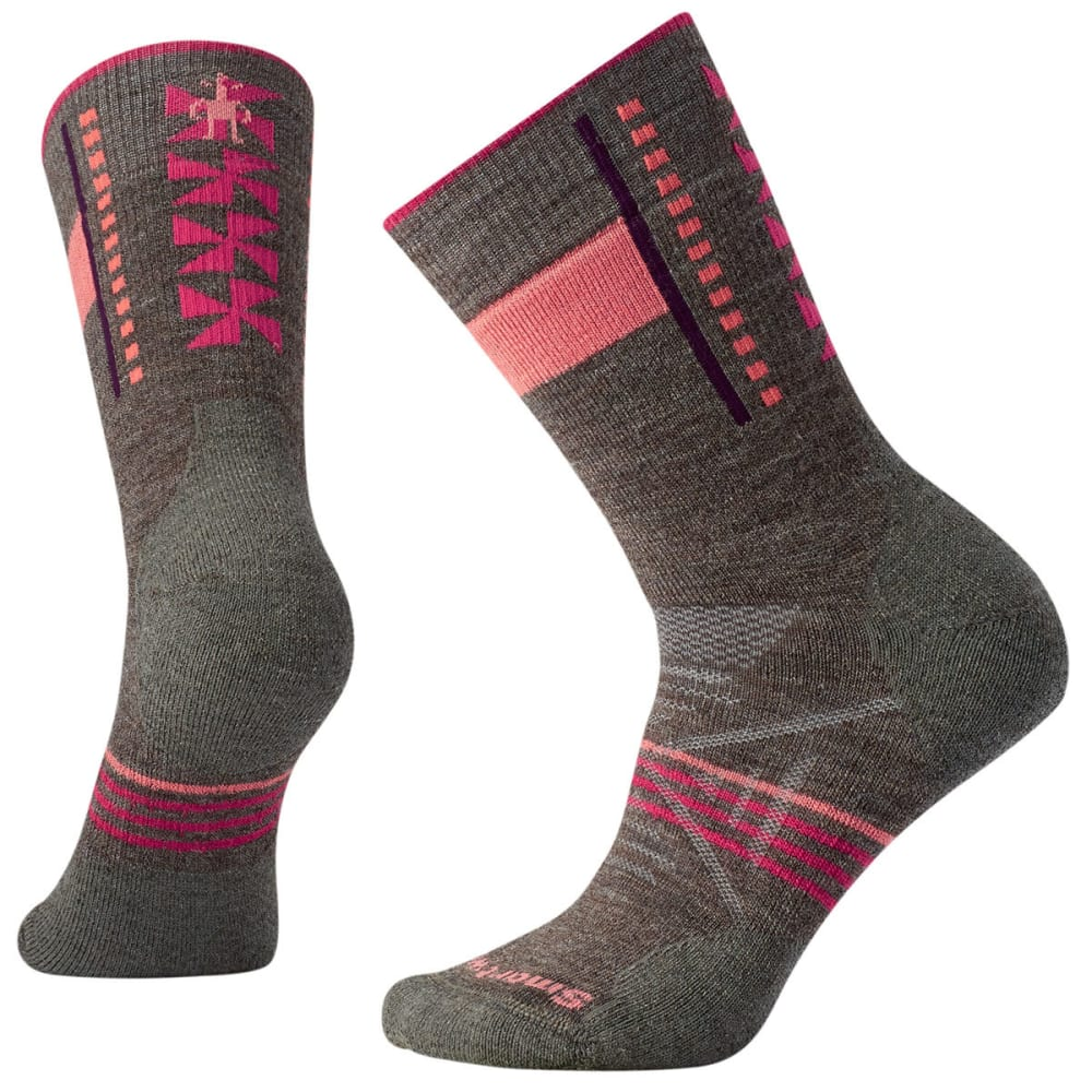SMARTWOOL Women's PhD Outdoor Medium Pattern Crew Socks - 236-TAUPE