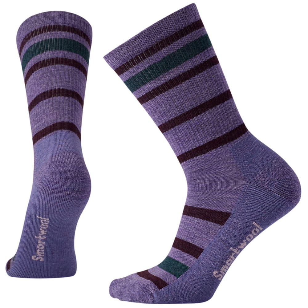 SMARTWOOL Women's Striped Hike Light Crew Socks - 511-LAVENDER
