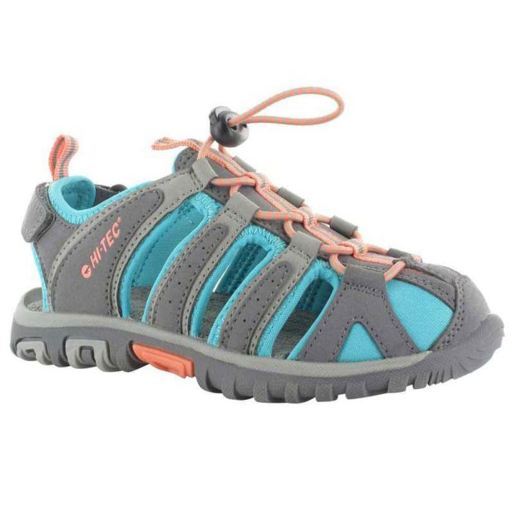 HI-TEC Girls' Cove II Junior Water-Friendly Sandals - GRY/CURCA BLU/PAPAYA