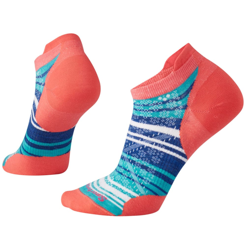 SMARTWOOL Women's PhD Run Ultra Light Striped Micro Socks - 494-BRIGHT CORAL