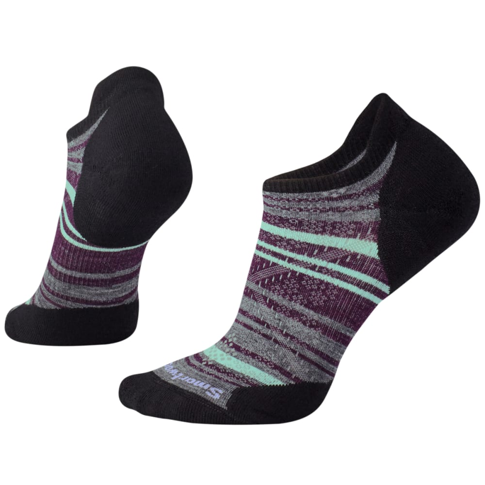 SMARTWOOL Women's PhD Run Light Elite Striped Micro Socks - 001-BLACK