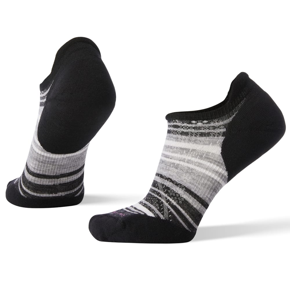 SMARTWOOL Women's PhD Run Light Elite Striped Micro Socks - 007-BLACKLIGHT GRAY