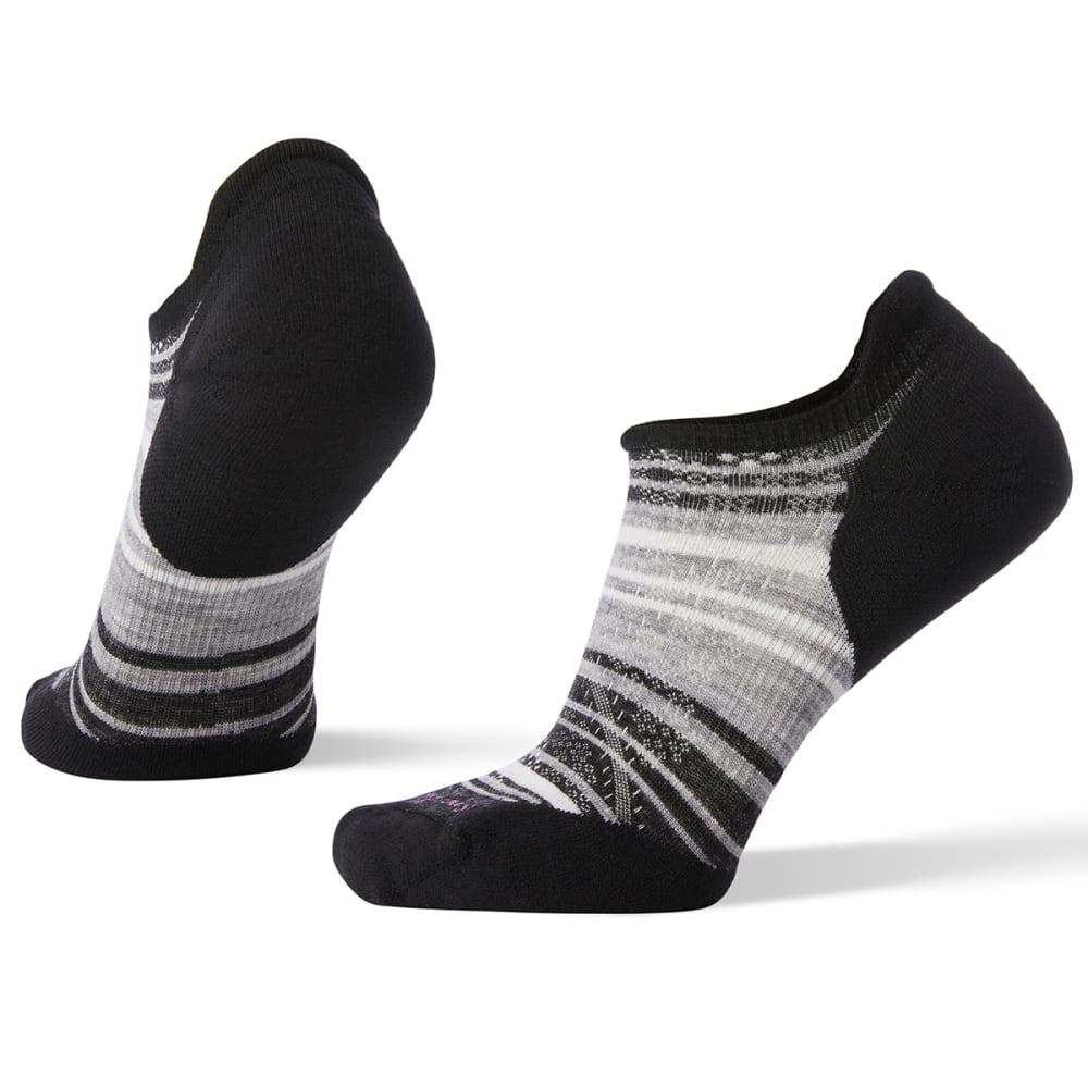 SMARTWOOL Women's PhD Run Light Elite Striped Micro Socks - 007-BLACKLIGHT GRAY