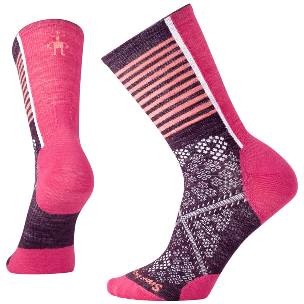 SMARTWOOL Women's PhD Cycle Ultra Light Pattern Crew Socks - 590-BORDEAUX
