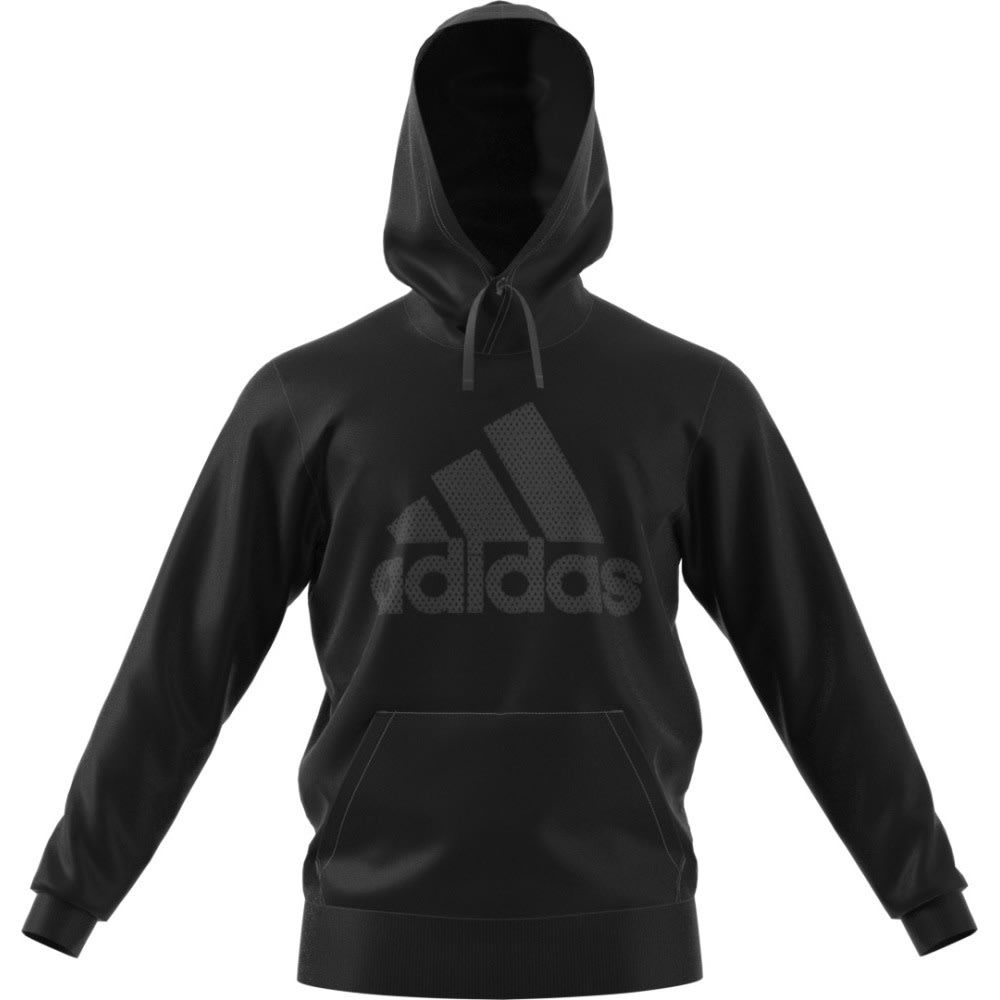 ADIDAS Men's Essential Logo Hoodie - BLACK/BLACK