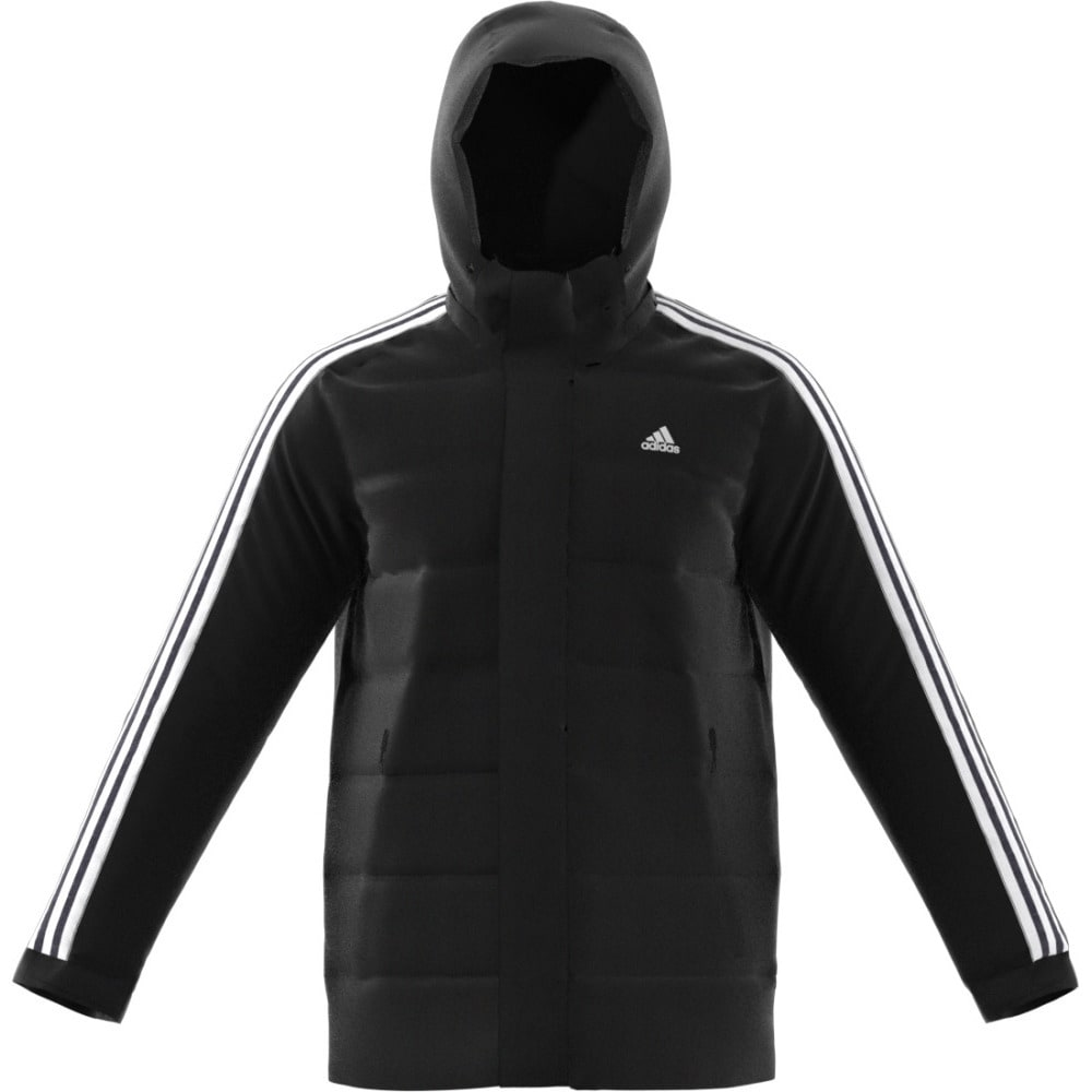 ADIDAS Men's Itavic 3 Stripes Hooded Down Jacket - BLACK/WHITE/WHITE