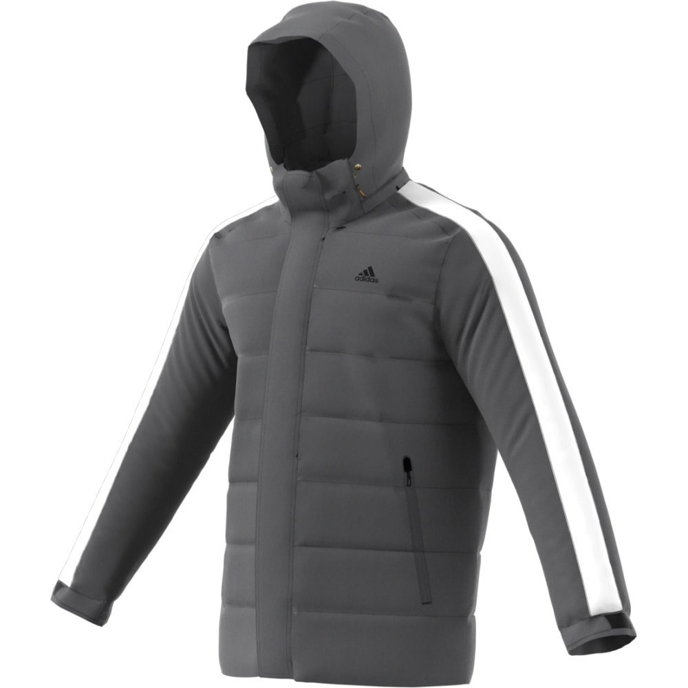 ADIDAS Men's Itavic 3 Stripes Hooded Down Jacket - GREY FIVE/BLACK/BLK