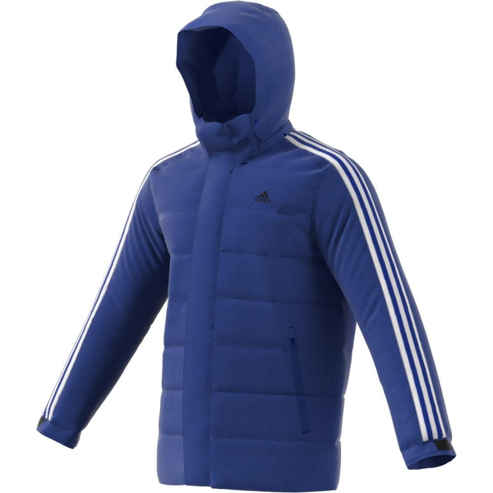 ADIDAS Men's Itavic 3 Stripes Hooded Down Jacket - ROYAL/WHITE/BLACK