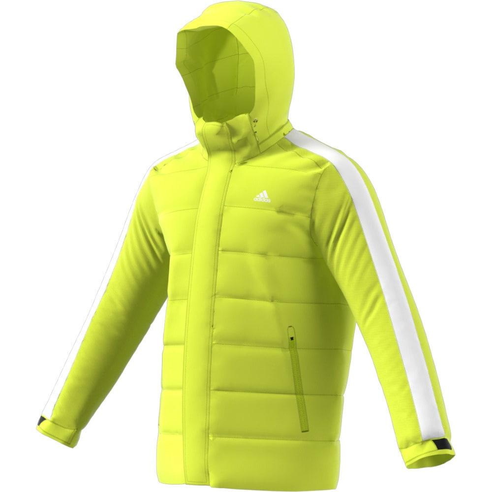 ADIDAS Men's Itavic 3 Stripes Hooded Down Jacket - YELLOW/BLACK/WHITE