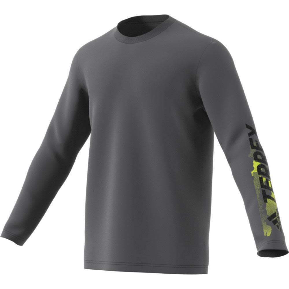 ADIDAS Men's Terrex Logo Long Sleeve Tee - GREY FIVE