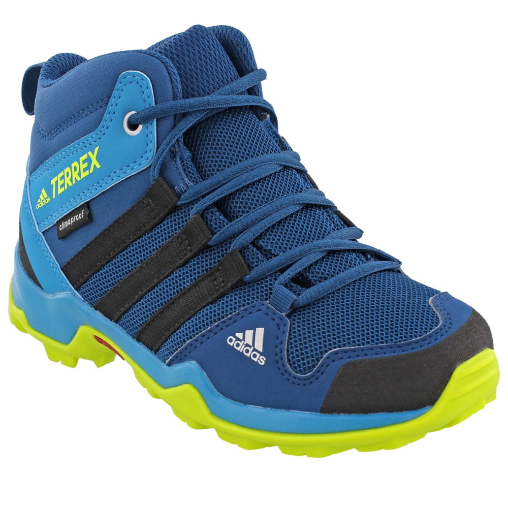 ADIDAS Kids' AX2R Mid Hiking Shoes, Blue Night/Black/Semi Solar Yellow - BLUE/BLACK/YELLOW