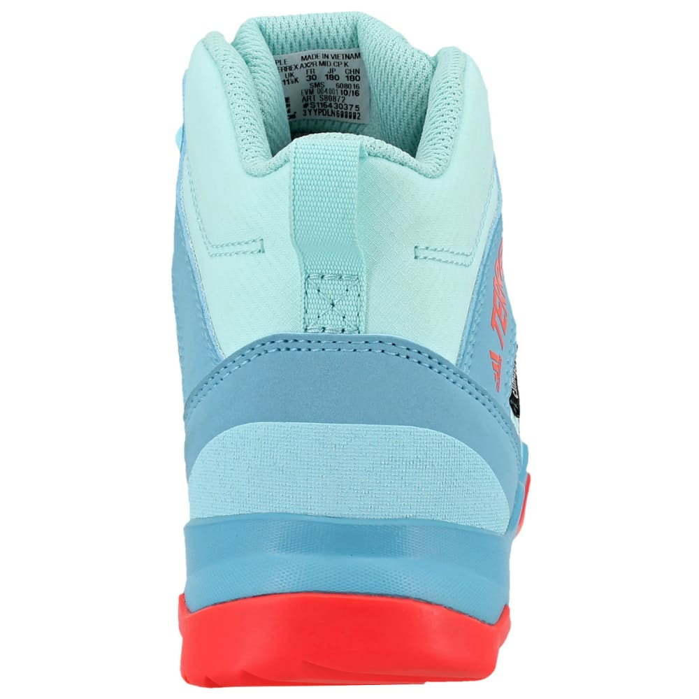 ADIDAS Kids' AX2R Mid Hiking Shoes, Clear Aqua/Grey Two/Easy Coral - AQUA/GREY/CORAL