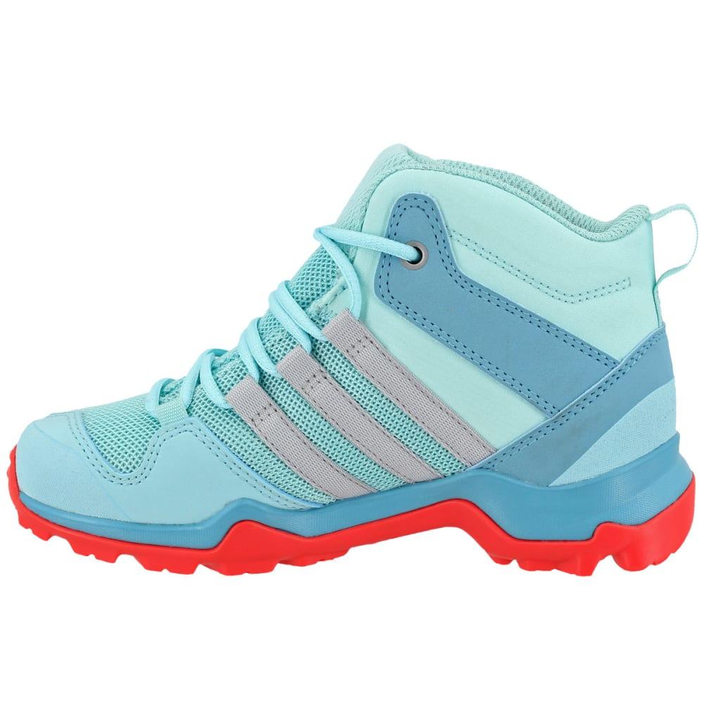 ADIDAS Kids' AX2R Mid Hiking Shoes, Clear Aqua/Grey Two/Easy Coral - AQUA/GREY/CORAL