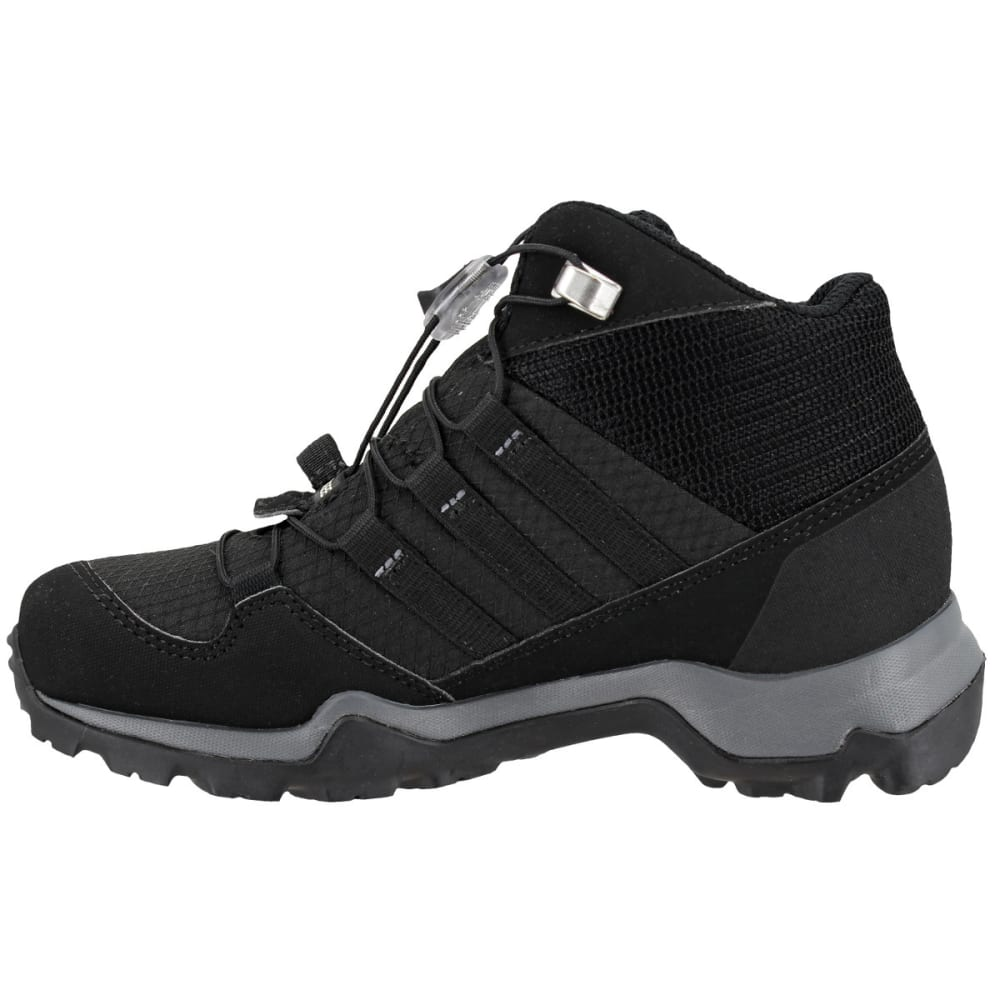ADIDAS Kids' Terrex Mid GTX Hiking Shoes, Black/Black/Vista Grey - BLACK/BLACK/GREY