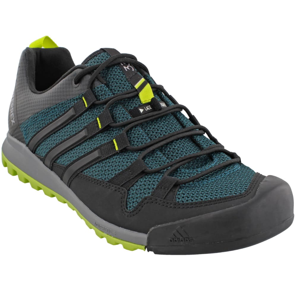 ADIDAS Men' Terrex Solo Hiking Shoes, Mystery Green/Black/Semi Solar Yellow - GREEN/BLACK/YELLOW