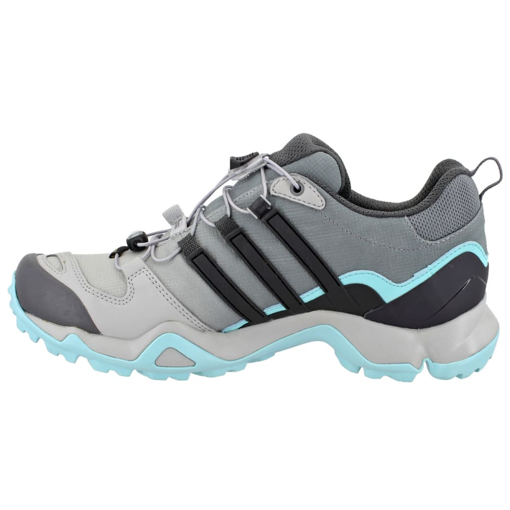 ADIDAS Women's Terrex Swift R GTX Hiking Shoes, Grey Two/Utility Black/Clear Aqua - GREY/BLACK/AQUA